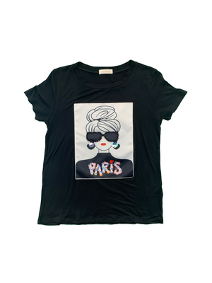 "Load image into Gallery viewer, ""Paris Girl"" Patch Short Sleeve"