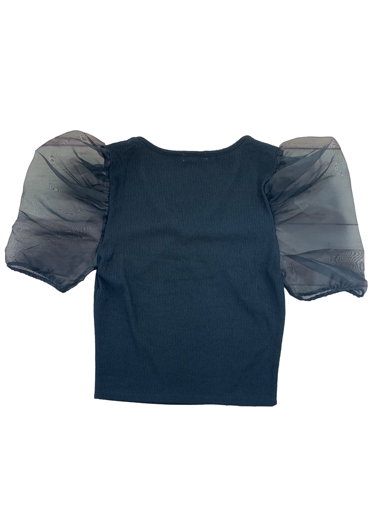 Load image into Gallery viewer, Organza Puff Ribbed Short Sleeve