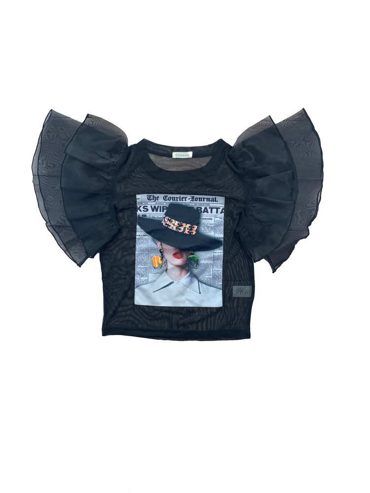 Load image into Gallery viewer, Organza Ruffled Sleeve Mesh Top