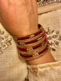 Women's Red Velvet Silk Bangle (12-piece)