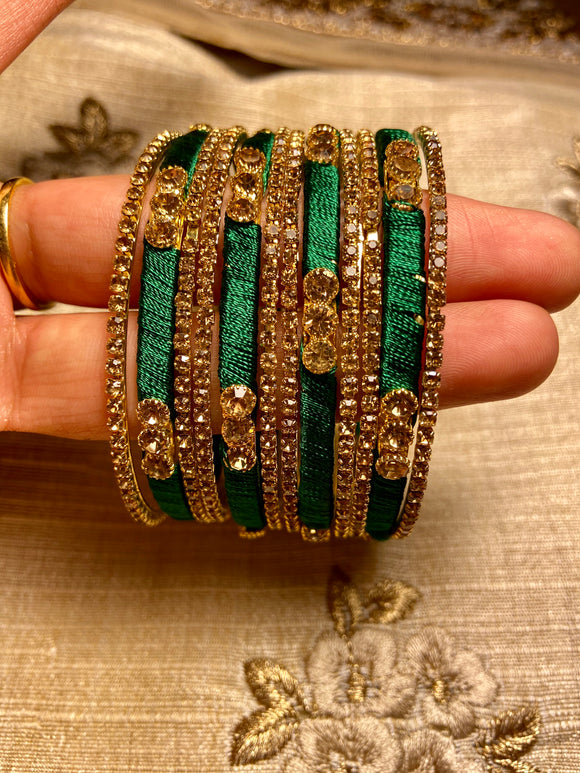 Women's Emerald Silk Bangle (12-piece)