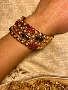 Women's Gold and Ruby Bangle (4-piece)