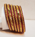 Women's Maroon Bordered Bangle (6-piece)