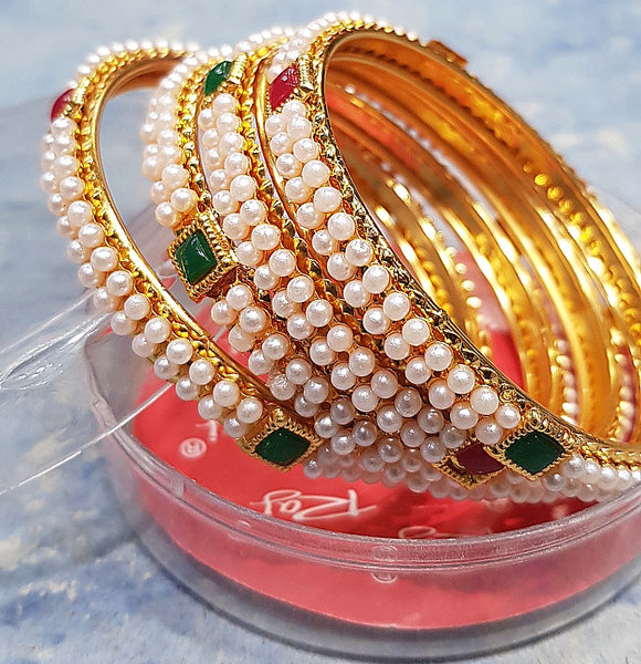 Women's Traditional Pearl Bangle (4-piece)
