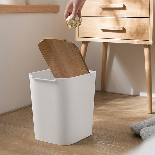 Modern Wooden Office Trash Can - Modernly Decor