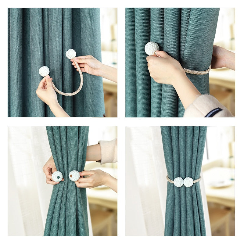 Safiya - Pearl Magnetic Curtain Holders - Modernly Decor