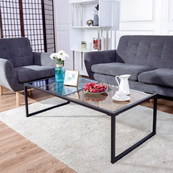 Theo - Rectangle Dual Color Glass Top Coffee Table - Modernly Decor
