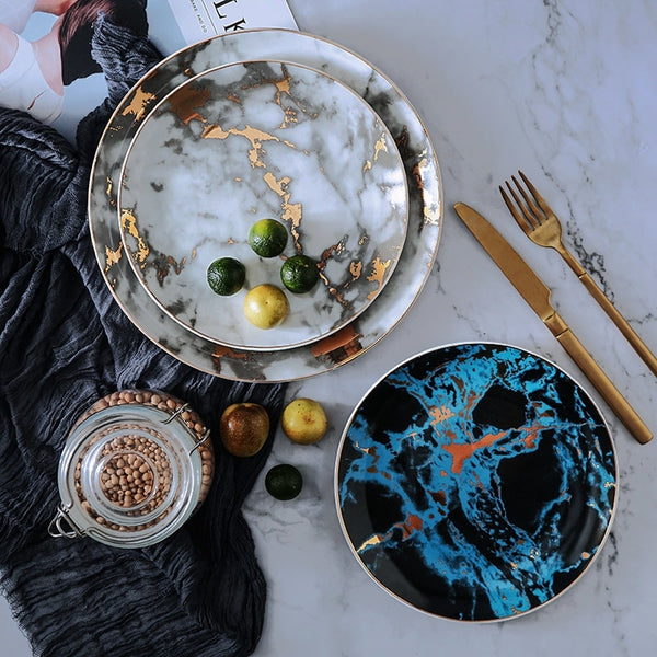 Set of 4 Unique Marble Ceramic Dinner Plates - Modernly Decor