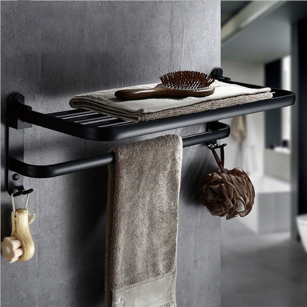 Greta - Black Matte Towel Rack - Modernly Decor