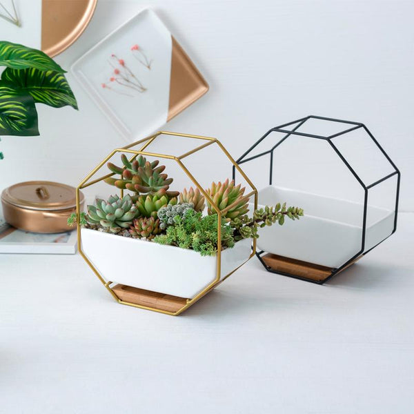 Ayla - Iron Frame Ceramic Geometric Planter - Modernly Decor