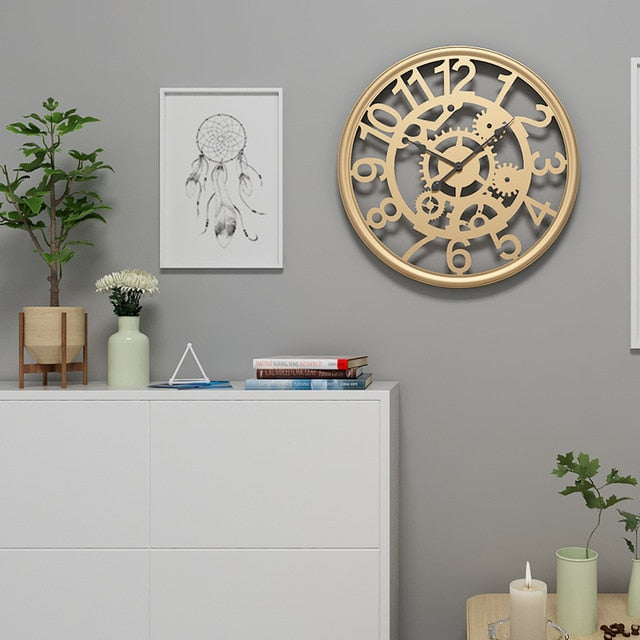 Linden - Cogs & Gears Wrought Iron Clock - Modernly Decor