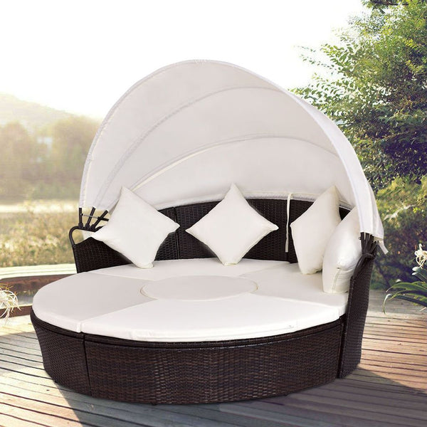 Jacinto - Canopy Cushioned Round Daybed Sofa - Modernly Decor