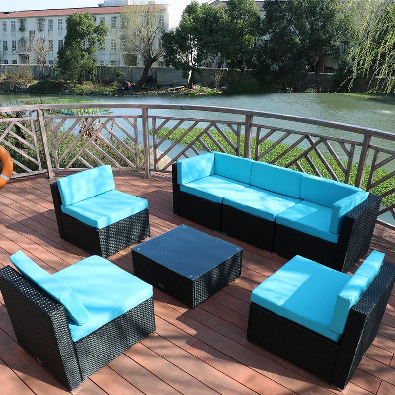 Leandro - 7 Piece Outdoor Patio Rattan Furniture - Modernly Decor