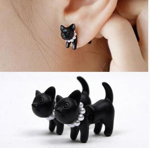 Cat 3D Black Earrings