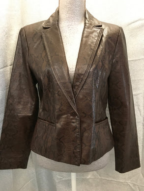 Siena Size 6 Snakeskin Brown leather Jacket