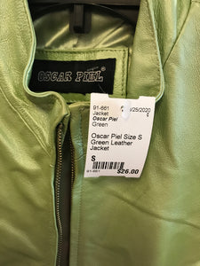 Oscar Piel Size S Green Leather Jacket