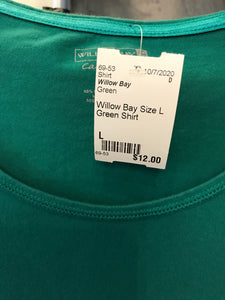 Willow Bay Size L Green Shirt