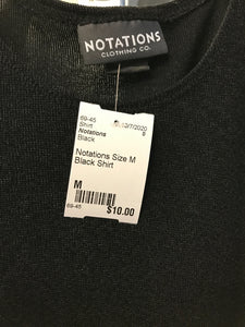 Notations Size M Black Shirt