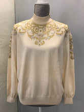 Load image into Gallery viewer, St John Evening Size 6 Cream/Gold Sweater NWT