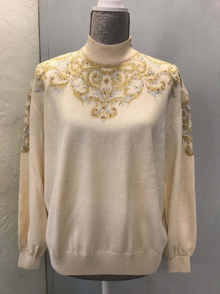 St John Evening Size 6 Cream/Gold Sweater NWT