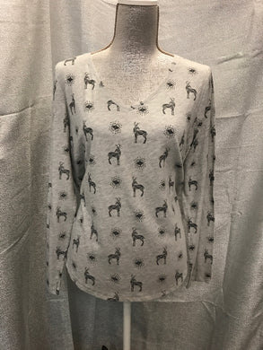 Sonoma Size L Gray T-Shirt W/DEER