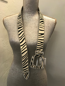 Leather Size S Zebra Belt with Bling