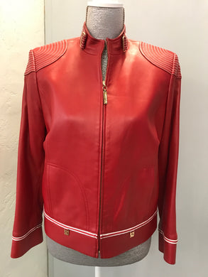 St John Sport Size P Red leather Jacket