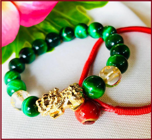 Powerful Green Tiger Eye with Wealth Magnet Piyao Bracelet