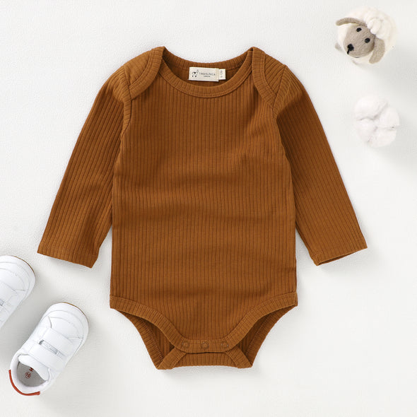 Organic Natural Cotton Ribbed Long Sleeve Baby Bodysuit