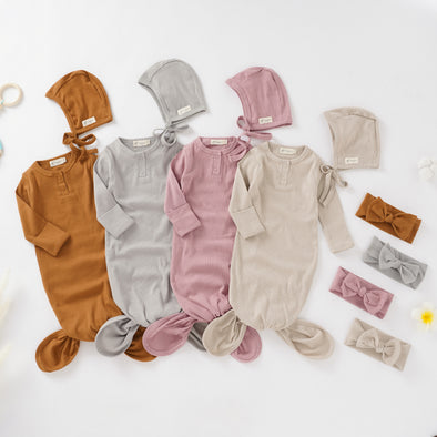Organic Cotton Newborn Gown Set with Headband and Hat (0-6 months)