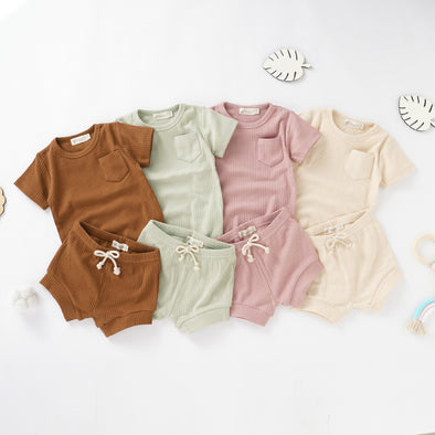 Organic Natural Cotton Short Sleeve Baby Coord Set