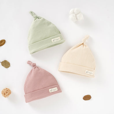 Organic Natural Cotton Baby Hats Set of 3 (0-6 months) (Lime, Blush and Cream)