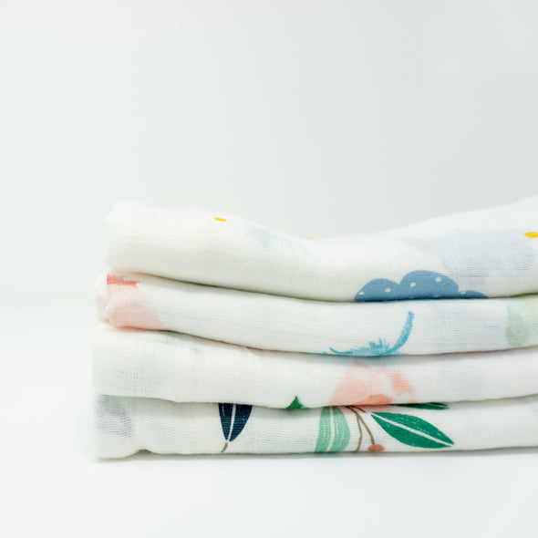 "Bamboo Muslin Cloths 60x60CM (Set of 4) ""White"""