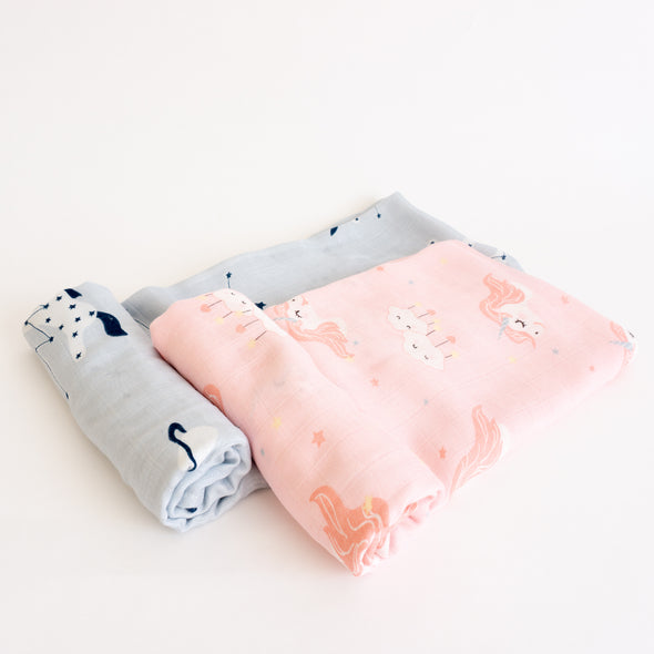 "Bamboo Muslin Swaddle Wrap ""Pink and Blue Unicorns"" (Set of 2) 120x120CM"