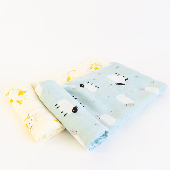 "Bamboo Muslin Swaddle Wrap ""Sheep and Cat"" (Set of 2) 120X120CM"