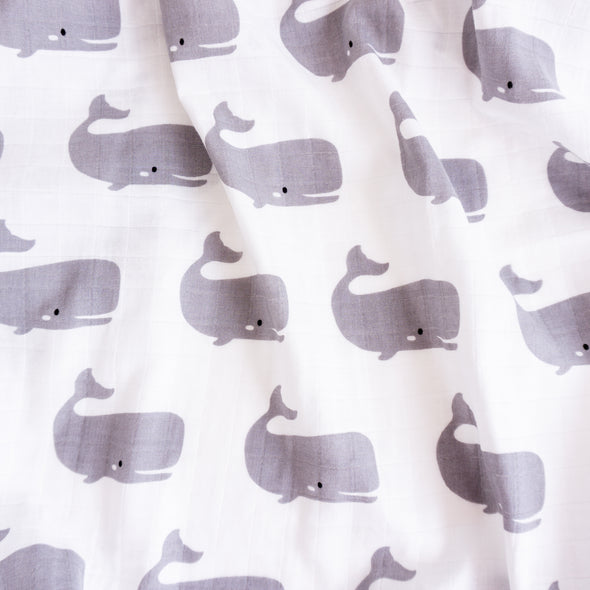 "Organic Cotton Swaddle Wrap ""Whale"" 120x120CM"