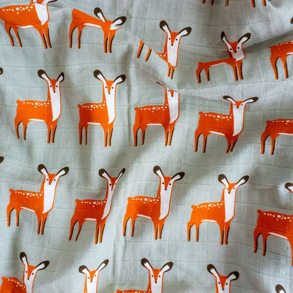 "Organic Cotton Swaddle Wrap ""Deer"" 120X120CM"
