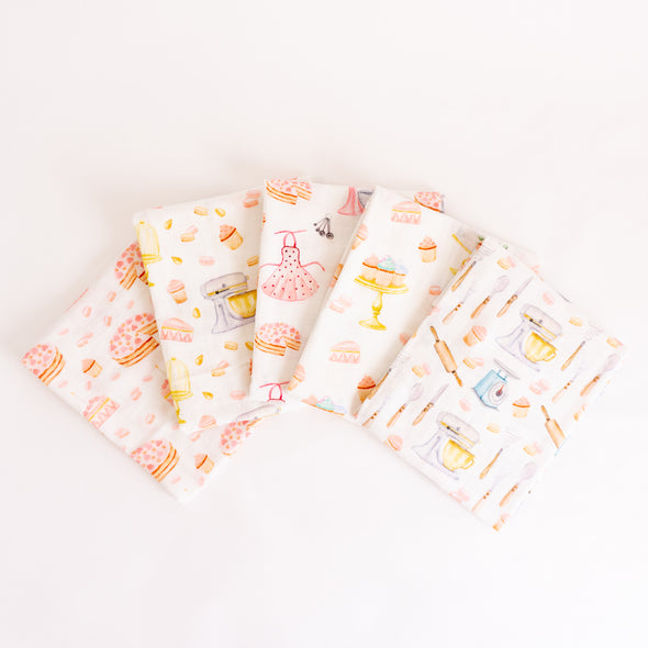 "Organic Cotton Muslin Cloths ""Cakes and Macaroons"" (Set of 5) 60X60CM"