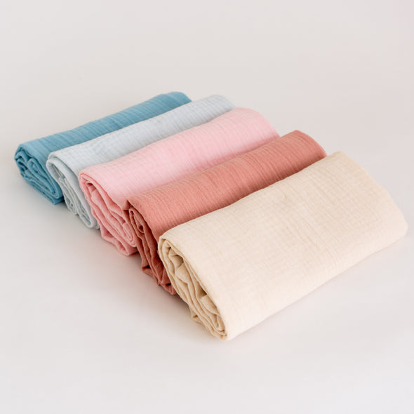 "Organic Cotton Muslin Cloths ""Pastel Tones"" (Set of 5) 60X60CM"