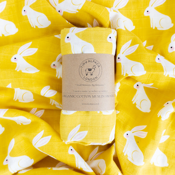 "Organic Cotton Swaddle Wrap ""Rabbit"" 120X120CM"