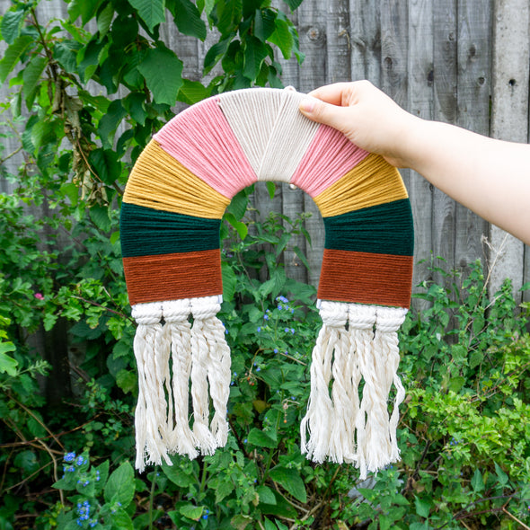 "Rainbow Macrame Wall Hanging Decor ""Muted Neutrals"""