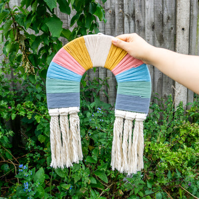 "Rainbow Macrame Wall Hanging Decor ""Bright Neutral"""