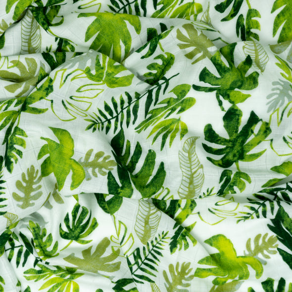 "Bamboo Muslin Swaddle Wrap ""Tropical Leaves"" 120x120cm"
