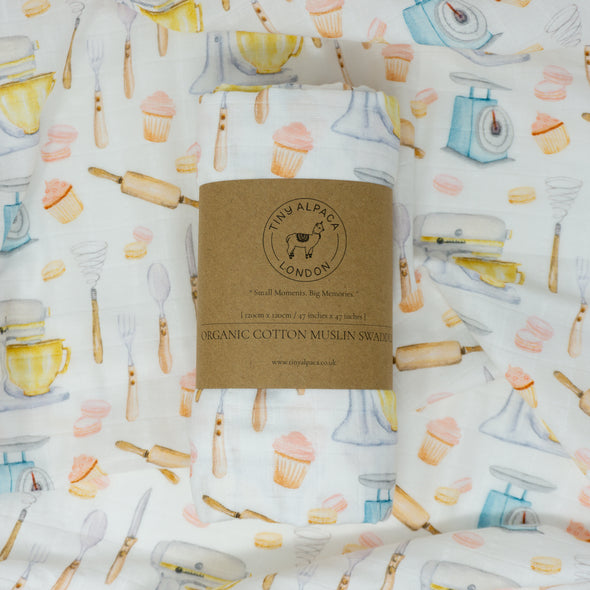 "Organic Cotton Plain Swaddle Wrap ""Baking Inspired"" 120X120CM"