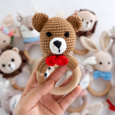 "Baby "" Bear""  Crochet Rattle Teether"