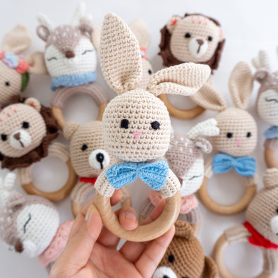 "Baby "" Rabbit""  Crochet Rattle Teether"
