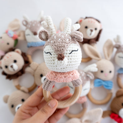 "Baby "" Deer""  Crochet Rattle Teether"