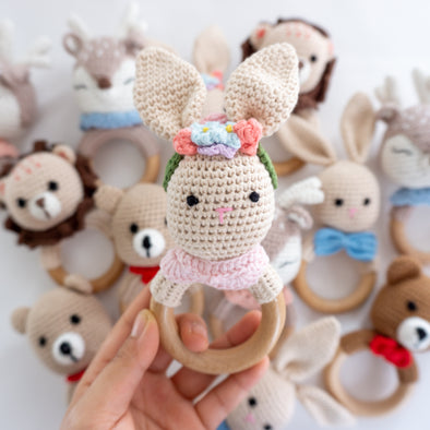 "Baby ""Bunny ""  Crochet Rattle Teether"