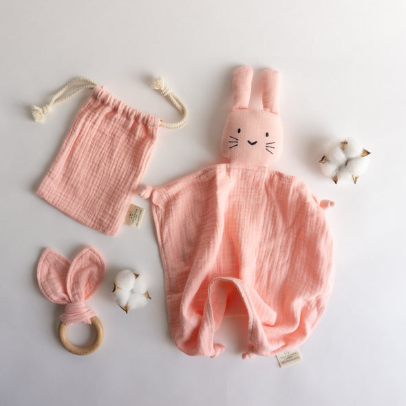 Organic Cotton Bunny Security Blanket With Teether 40x40CM