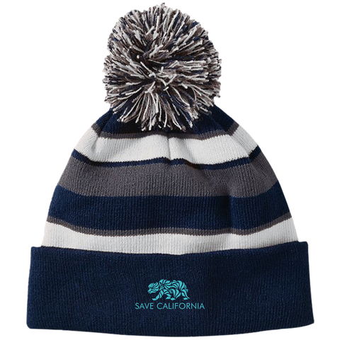 Save CA Striped Beanie with Pom